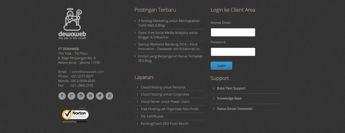 halaman footer untuk website