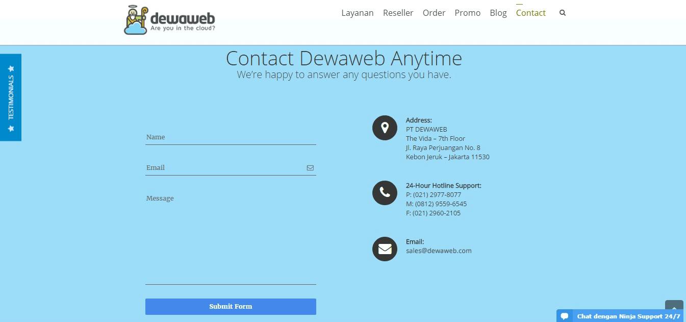 halaman kontak website