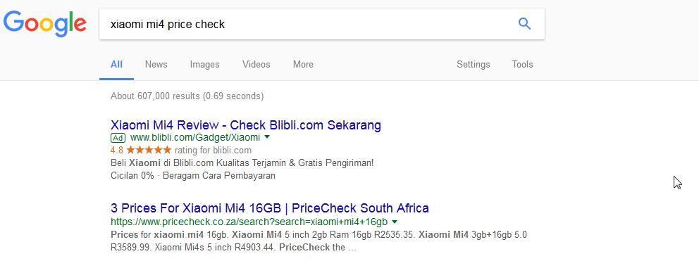 Search Intent Price Comparison