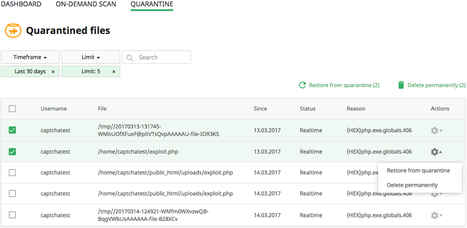 Quarantine-Dashboard-Imunify360