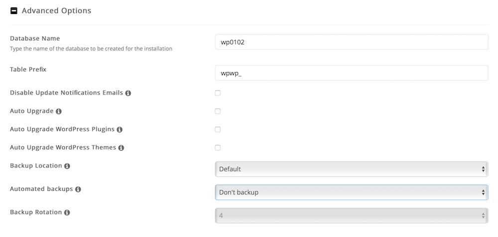 Advanced Option Instal WordPress Dewaweb