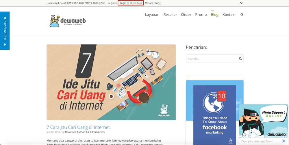 Login-to-Client-Area-Dewaweb