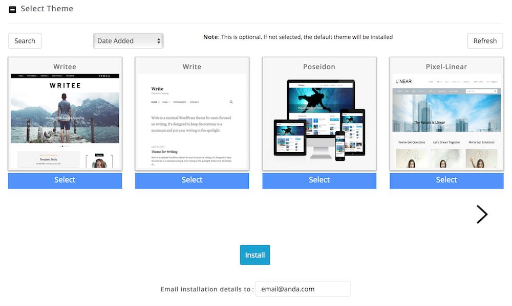 Pilih Theme WordPress dari Softaculous Dewaweb