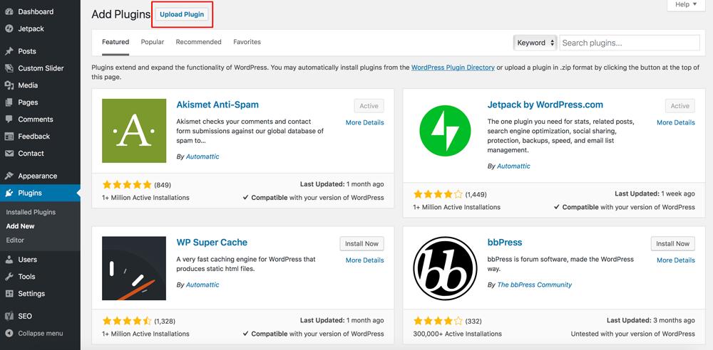 Upload-Plugin-WordPress Dewaweb