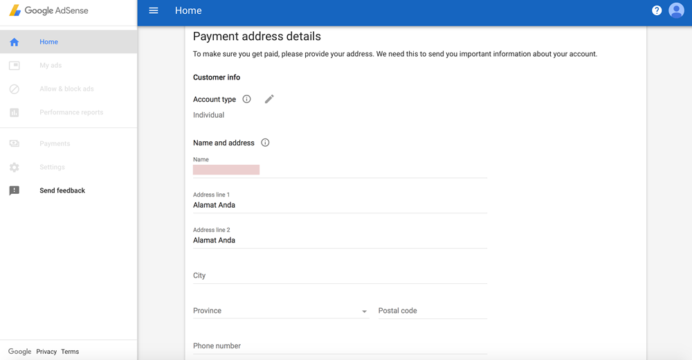Informasi-Detail-Anda-Google-AdSense-Dewaweb