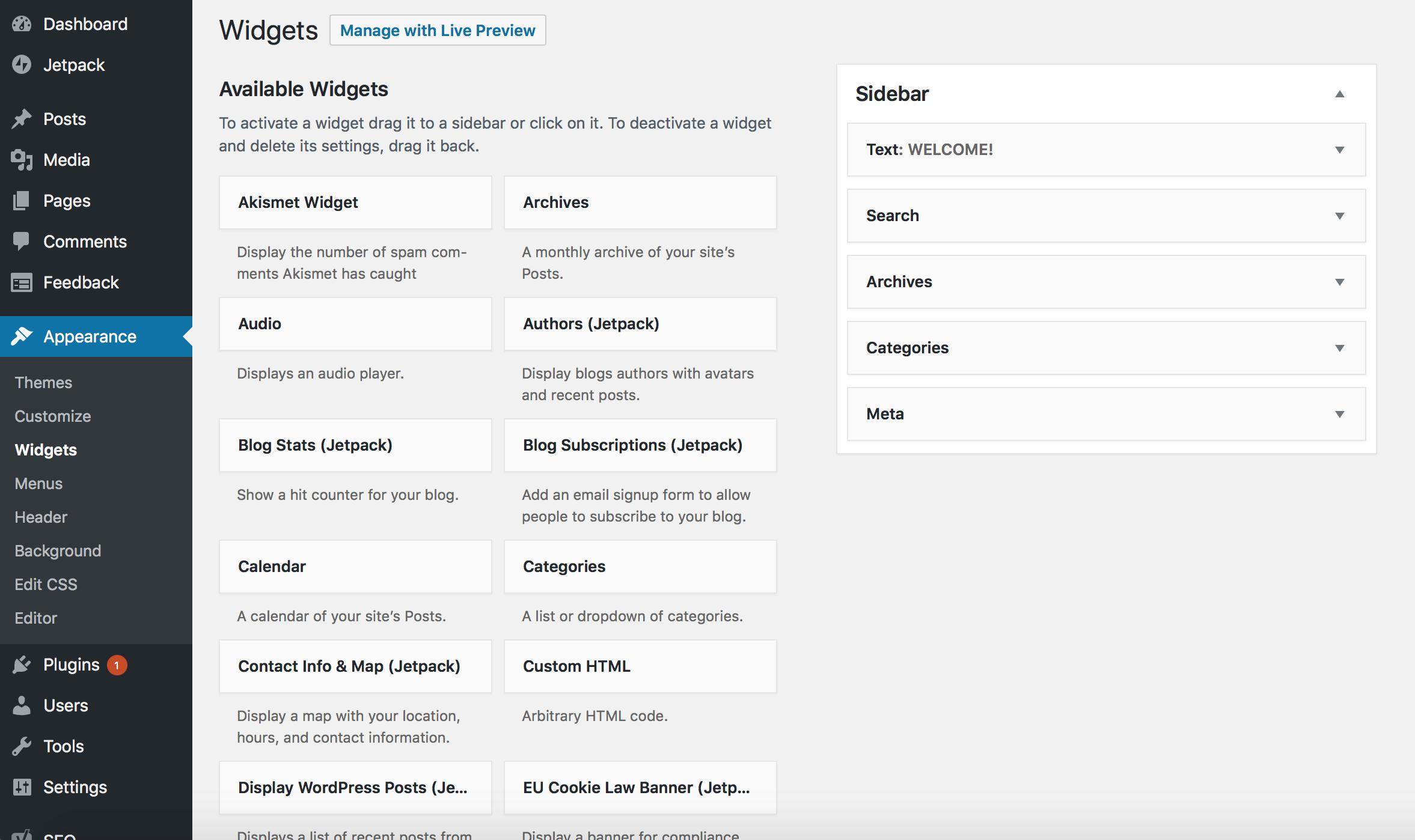 Widgets WordPress Dewaweb