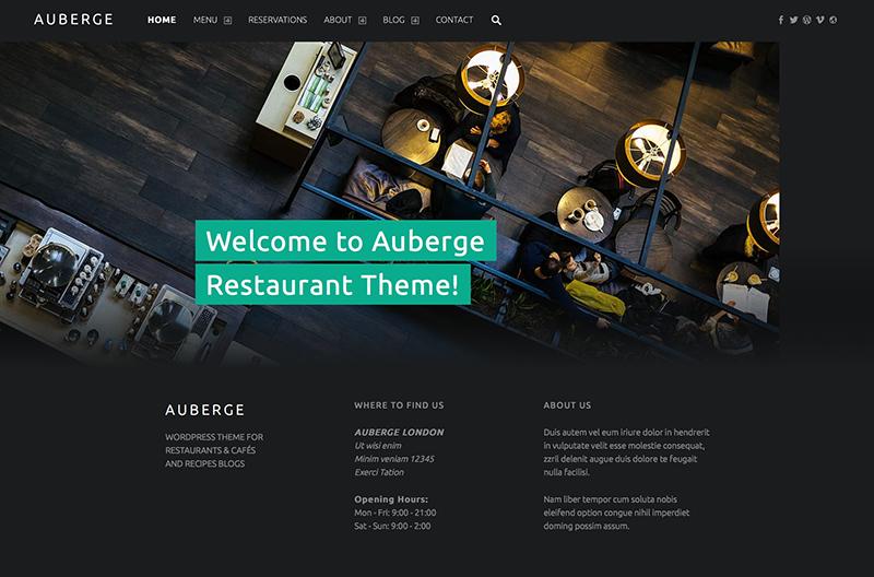 Template WordPress Restoran Cafe Auberge