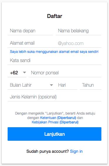 Cara Daftar Yahoo Mail indonesia 2 - Dewaweb