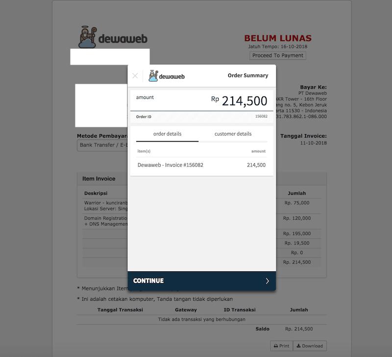 Virtual Account Bayar Dewaweb