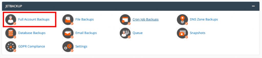backup data website jetbackup