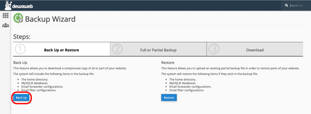 backup data backup button