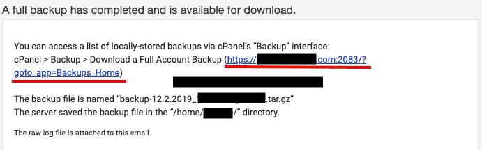 backup data click link