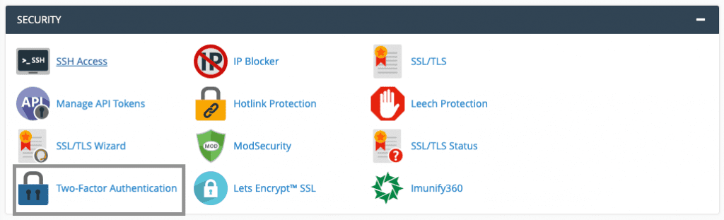 cara mengaktifkan two-factor authentication cpanel security