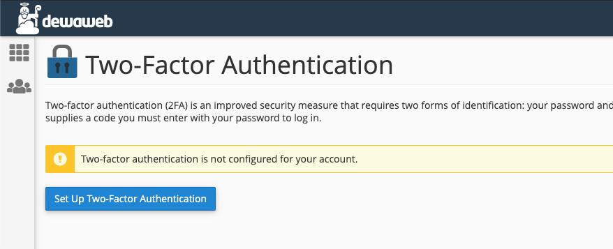 cara mengaktifkan two-factor authentication cpanel setup1