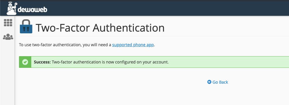 cara mengaktifkan two-factor authentication cpanel sukses