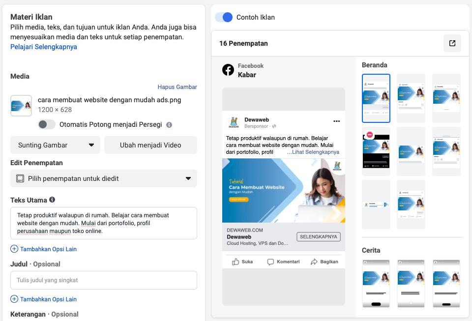 cara membuat iklan di facebook materi iklan