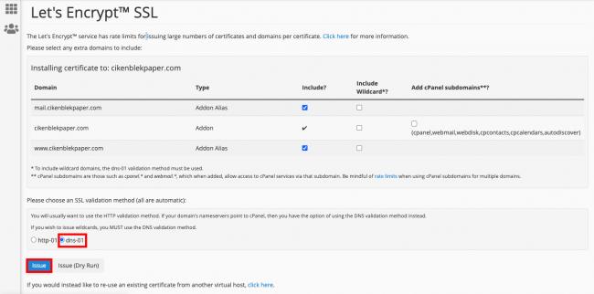 cara memasang sertifikat ssl di cpanel issue certificate