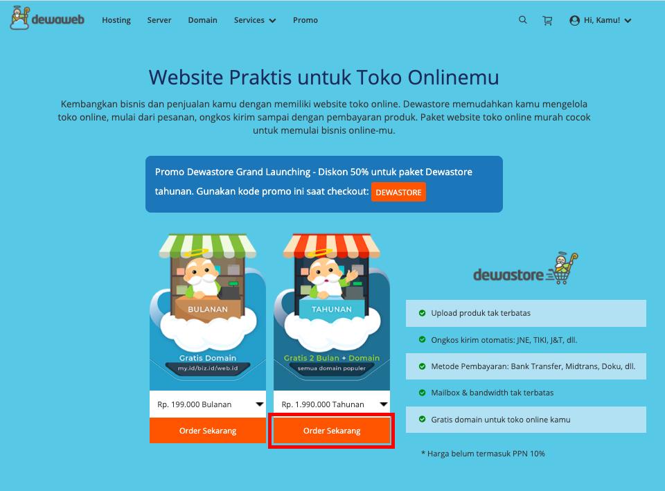 cara membuat website toko online dewastore katalog