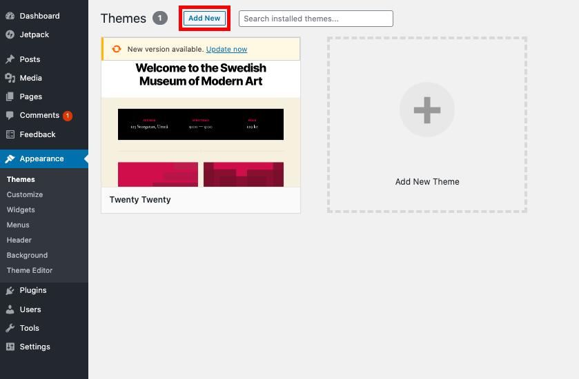 cara membuat website toko online add new theme