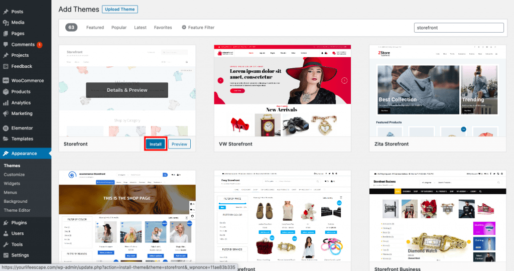 cara membuat website toko online tema storefront