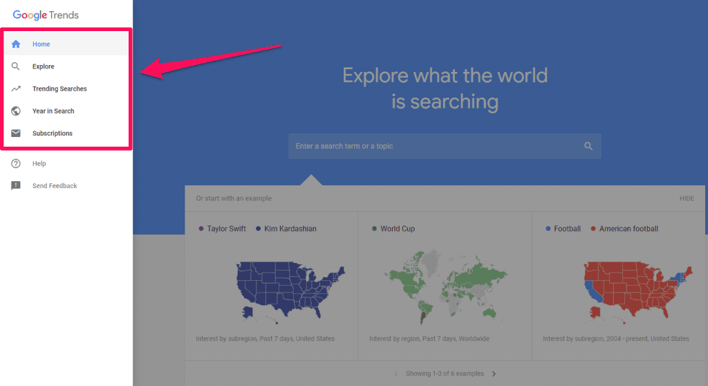 menu Google Trends