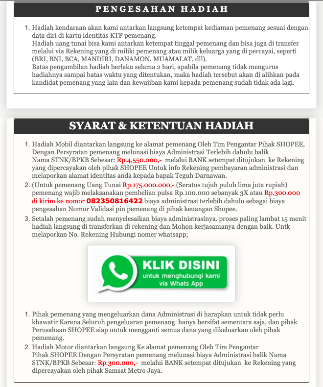 contoh website penipuan