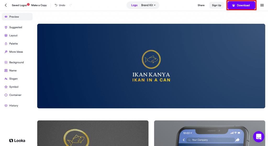 contoh hasil rekomendasi buat logo online di looka