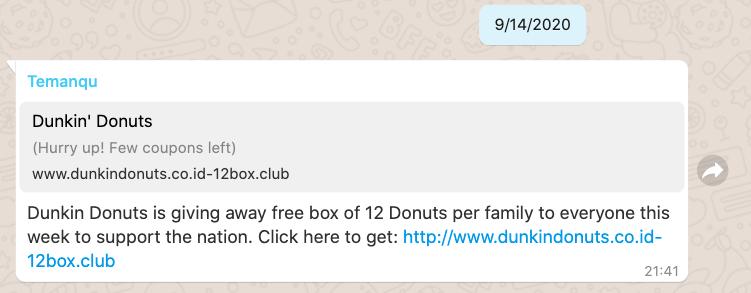 contoh phising whatsapp dunkin donut