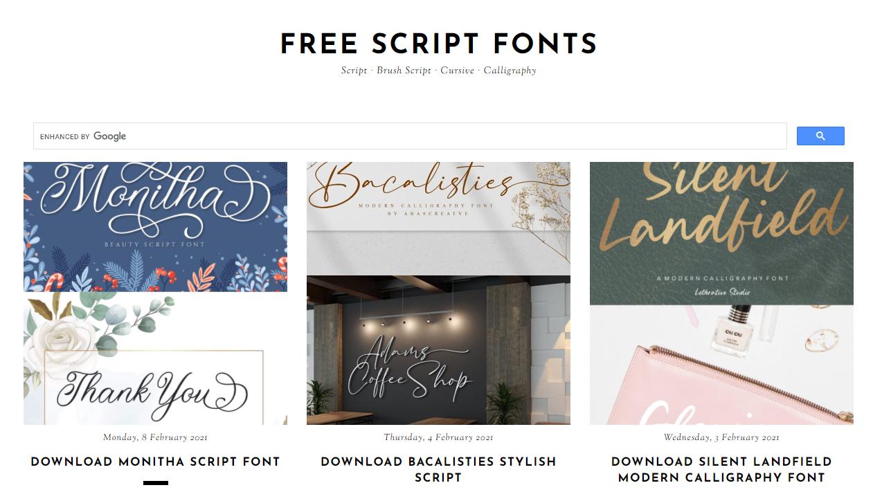 Download font di Free Script Font