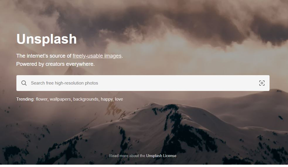 mesin pencari gambar unsplash