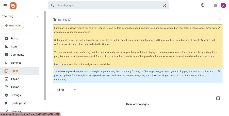 Cara buat blog di Blogger membuat halaman