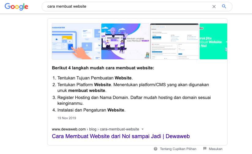 contoh artikel seo dewaweb menduduki ranking peringkat nol google