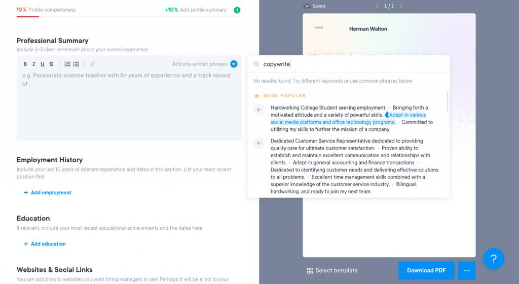 contoh pre-written phrase resume.io