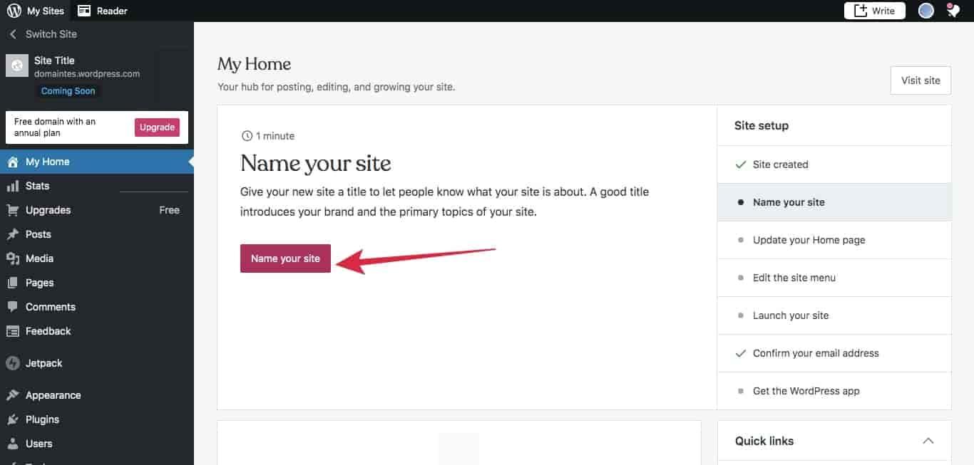 Cara buat blog di WordPress - buat judul website