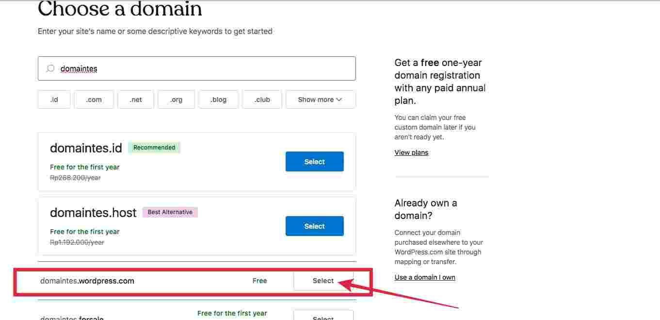 Cara buat blog di WordPress - buat domain