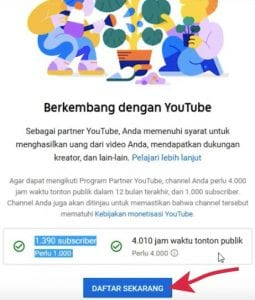 cara monetisasi youtube - daftar adsense
