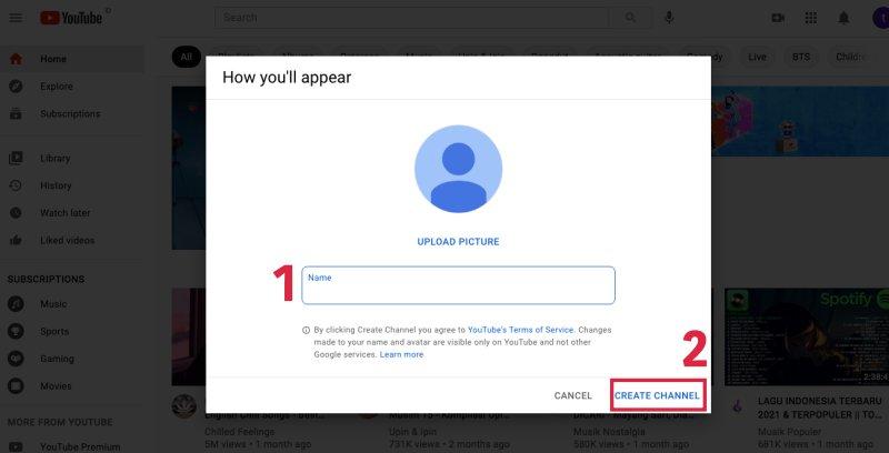 cara membuat akun youtube - tulis nama akun
